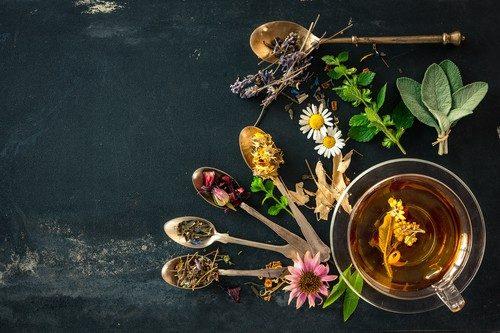 Verschiedene Kräuter, Gewürze und Blüten und eine Tasse Pfefferminztee auf schwarzer Oberfläche